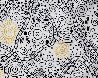 Australian Aboriginal Quilting Fabric - BUSH TUCKER WHITE - sold by 1/4 metre or Fat Quarter