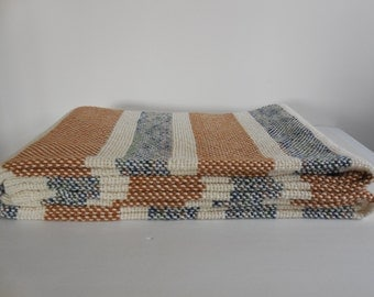 Blue and caramel handwoven cotton children's blanket