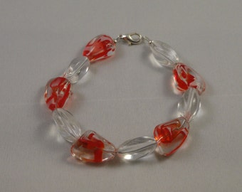 Red/Clear Chinese Crystal & Clear Glass Bead Bracelet