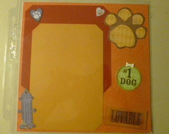 Dog Pet 8X8 Pre-Made Scrapbook Pages 6 total-3 Sleeves**Colorful*Ready for Photos**