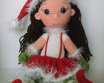 PATTERN- Christmas elf costume amigurumi doll (English)