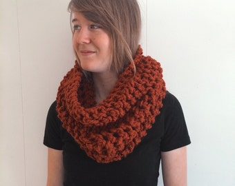 SALE Chunky Knitted Scarf Cowl Pumpkin - Ava Cowl