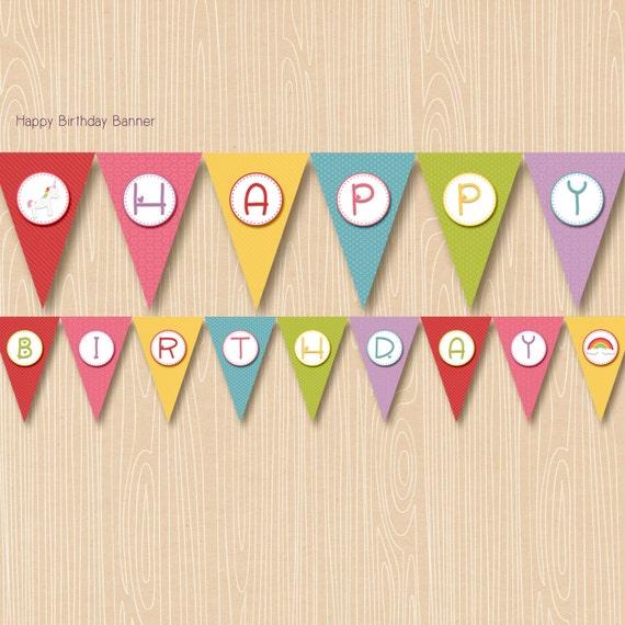 Party Banner Unicorn Rainbow, Printable, Birthday, Instant Download