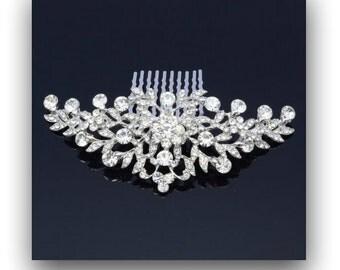 Rhinestone Bridal Hair Comb, Wedding Comb, Wedding Bridal Hair Accessories, Vintage Style Flower Hair Comb, ETERNITY II