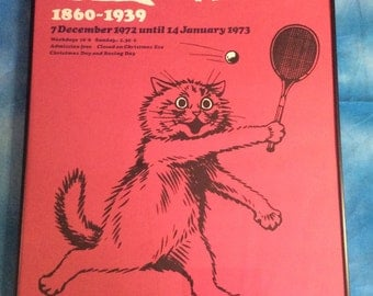 Louis Wain Exhibit poster from Victoria & Albert Museum ~ 1972 ~ Cat Playing Tennis