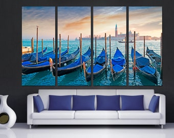 Gondolas at dusk at Venice Seacoast -4 Piece Split Canvas Print - Scenic Italy, boats wall art for home, office wall decor & interior design