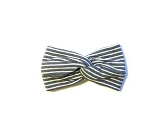 Turban Headband, Baby Turban Headband, Sweater Grey and White Stripe Headband