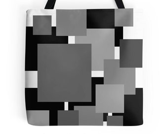 Black Bag, Geometric Bag, White Black Bag, Abstract Print