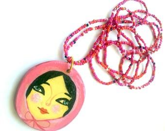 Illustrated wooden pendant. Illustrated matriushka portrait-mandala wooden necklace, handmade one of a kind