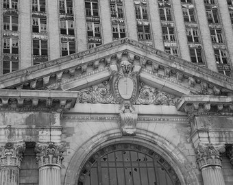 Detail of Michigan Central Station - Free US Shipping - Fine Art Print, Black & White Picture, Photography, Architecture, Detroit, Michigan
