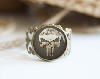 Punisher superhero 25mm adjustable ring, antique silver or antique bronze, cool jewelry