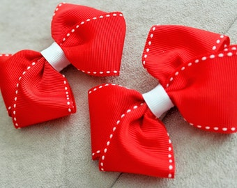 Pair of Red Hair Bow Clips