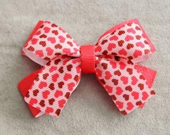 Rose Heart Hair Bow Clip