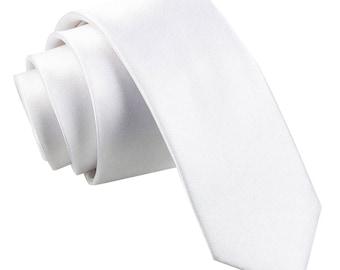 Satin White Skinny Tie