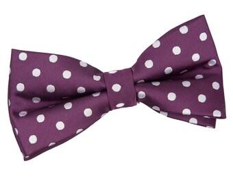 Polka Dot Purple Bow Tie
