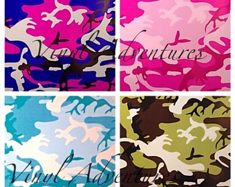 "Camo Pattern Vinyl, Camouflage Vinyl, Army, Teal, Pink, Purple, Camo, Adhesive Vinyl Print, Patterned, Vinyl, 12""x12"", Oracal 651"
