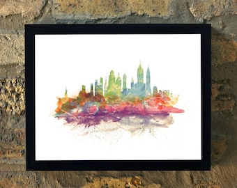 NEW YORK Water Color Print Wall Art House Warming Decor