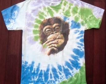 Hot Smoking Monkey Hand Tie Dye Shirt - Blue Green - Spiral