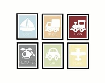 Vehicle Wall Art Set 1: Instant Download Boat/Truck/Train (set 1 out of 2)