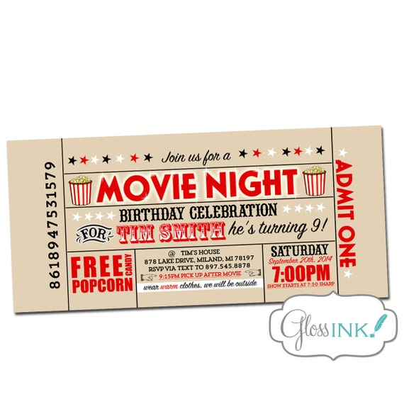 Movie Birthday Party Invitation Outdoor movie screen by ...