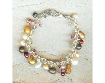"""Pearl Fantasy Bracelet, Sterling Silver Chain Bracelet, Mixed Colored Freshwater Pearls, Swarovski Crystals, 7 1/4"""""""