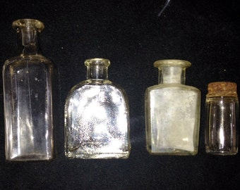 Vintage Bottles Clear--Set of 4