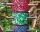 Unique handmade leather hair slide