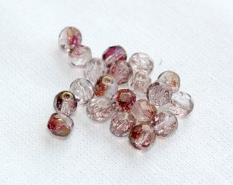 20 Clear and Pink Fire Polished Czech Glass