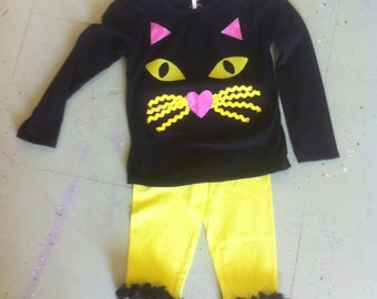 Custom made, adorable cat face outfit with matching hairbow