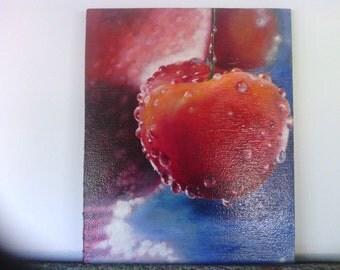 rojo cereza, original pintura al óleo, signo
