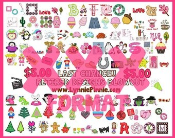 XXX FORMAT Lynnie Pinnie Retired Designs XXX format -- 115 designs and fonts!