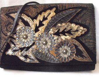 Absoloutely Fabulous Vintage Leather Applique Shoulder Bag or Large Clutch, Spanish, 1980s