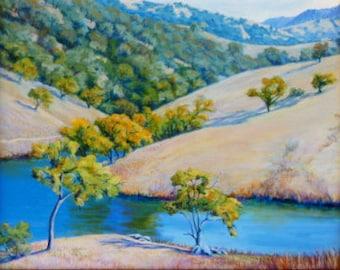 Autumn Vista- Northern California Mendocino Original Impressionist Landscape Oil Painting Blue Gold