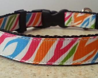 Zebra Stripe Adjustable and Handmade Dog Collar
