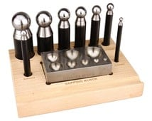 Complete 8-Piece Metal Forming Dapping Doming Punch and Block Set Jewelry Forming Tool 5mm to 27mm FORM-0015