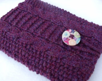 Knitted & Lined Kindle Cover - Berry Colour