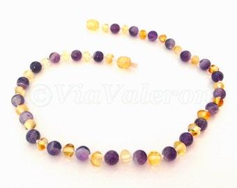 Lemon Baltic Amber & Amethyst Gemstone Knotted Teething Necklace - calming - teething pain relief - sleep anxiety help