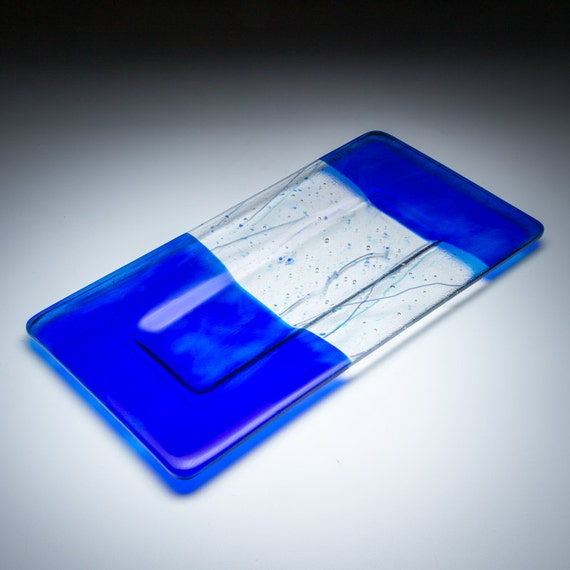 Art Glass Plate, Cobalt Blue with Stringer Accents, 12 x 7, Fused Glass Art