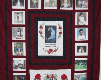 Custom Wedding or Anniversary Photo Memory Quilt         Personalized with Photos, Embroidered Wording and Designs!