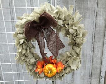 Burlap Tie Wreath with Pumpkin & Bow