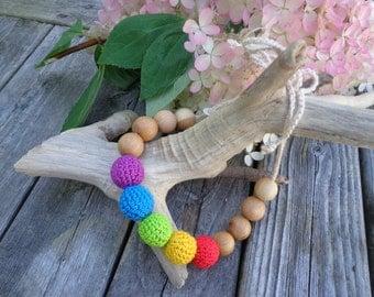 RAINBOW Breastfeeding Babywearing Teething Crocheted Cotton and Juniper wood bead NECKLACE for mom