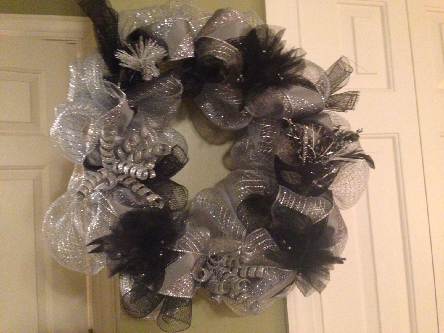 "16"" Silver and Black Deco Mesh New Year's Wreath **25% off**"