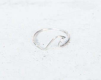 Sterling silver wave ring, hand made, fine jewellery
