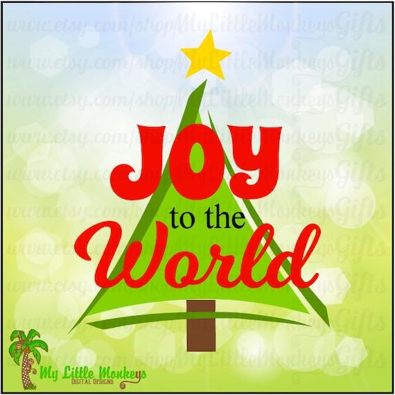 Joy to the World Christmas Tree Design Digital Clipart Instant