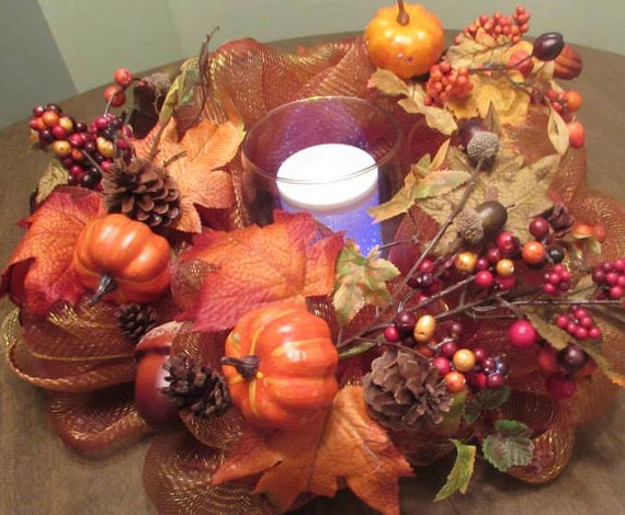 Autumn deco mesh centerpiece fall