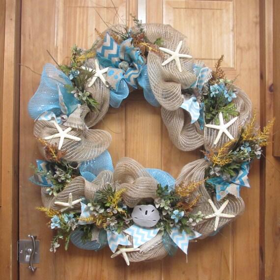 Beach Wreath Ocean Themed Deco Mesh Wreath Cape Cod Decor