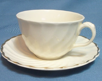 Vintage white fluted cup & saucer - Clarice Cliff Royal Staffordshire - Made in England - HS-TC-013