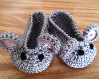 Baby Animal Slippers Bunny, Teddy Bear, Mouse 0-3 months