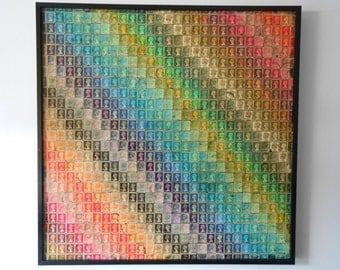 70cm x 70cm Framed British Postage Stamp Rainbow Collage Picture