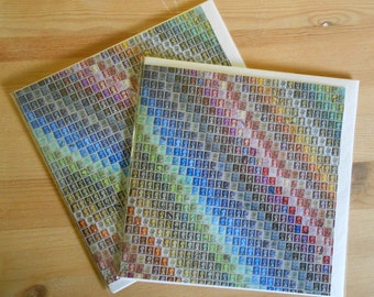 2 x British Postage Stamp rainbow montage Greetings Cards (blank inside) 15cm x 15cm